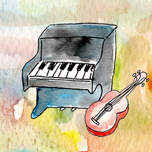 Music lessons- Watercolor piano and ukulele