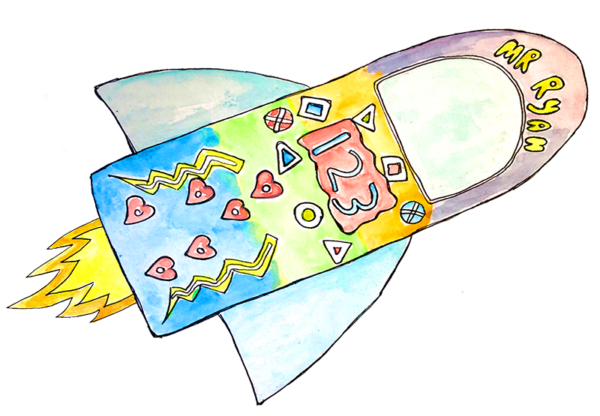 Water Color Rocketship