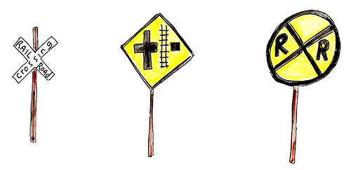 Watercolor train signs