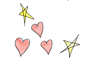 Watercolor hearts and stars